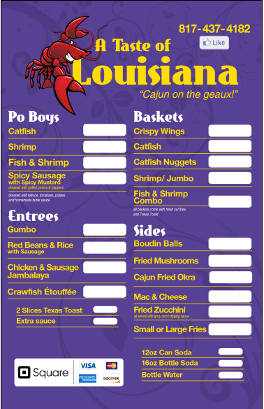 Taste of Louisiana Menu