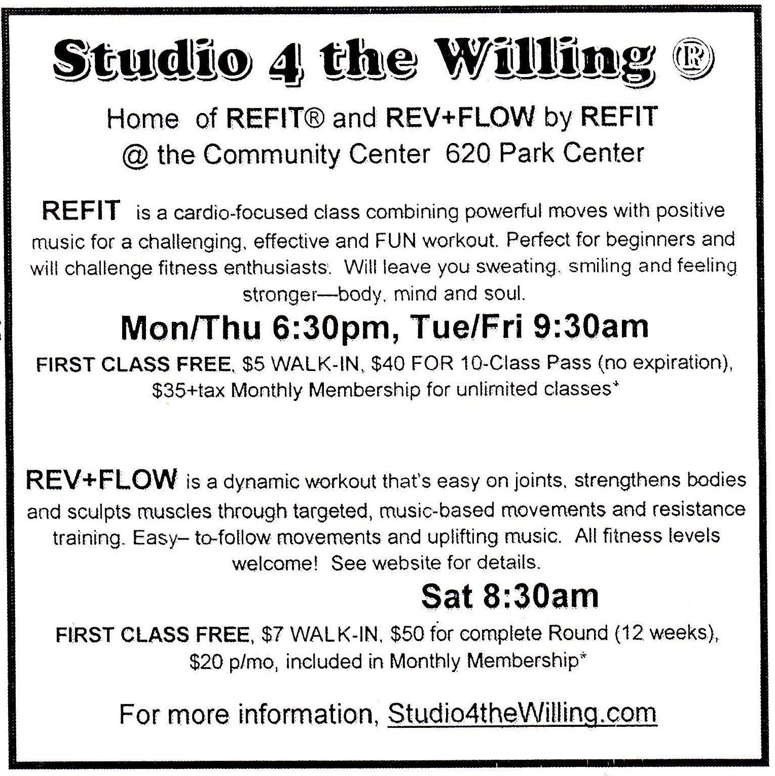 Studio for the Willing Cardio Class Flyer
